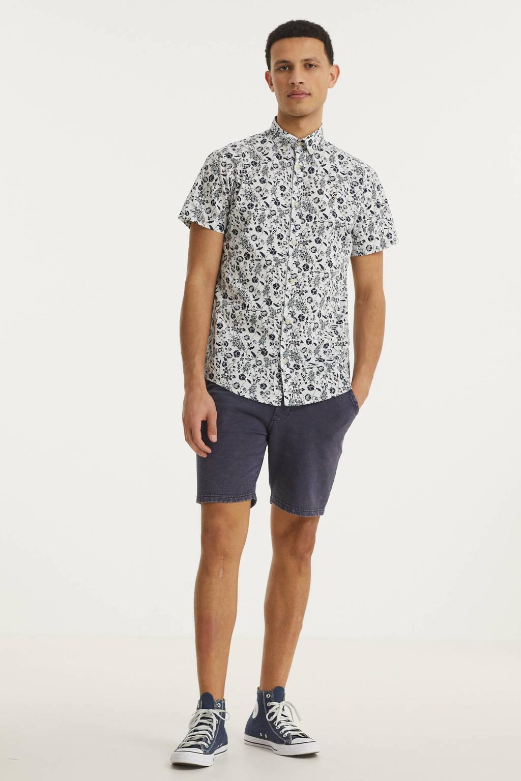 PRODUKT gebloemd regular fit overhemd Jack wit/donkerblauw, Wit/donkerblauw