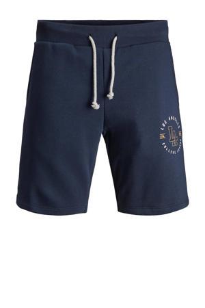 regular fit sweatshort met printopdruk donkerblauw
