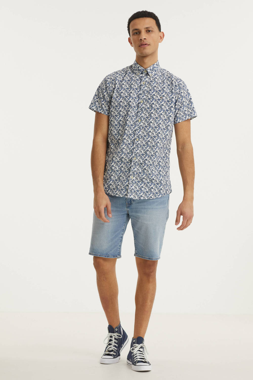 PRODUKT regular fit overhemd Jack met all over print blauw/wit, Blauw/wit
