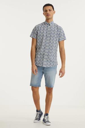 regular fit overhemd Jack met all over print blauw/wit