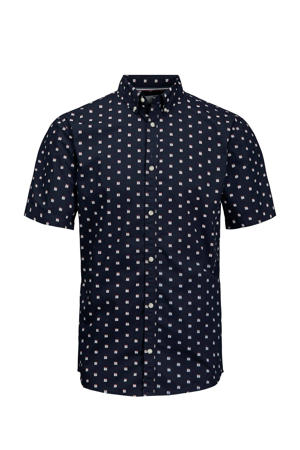 slim fit overhemd Holger met all over print donkerblauw