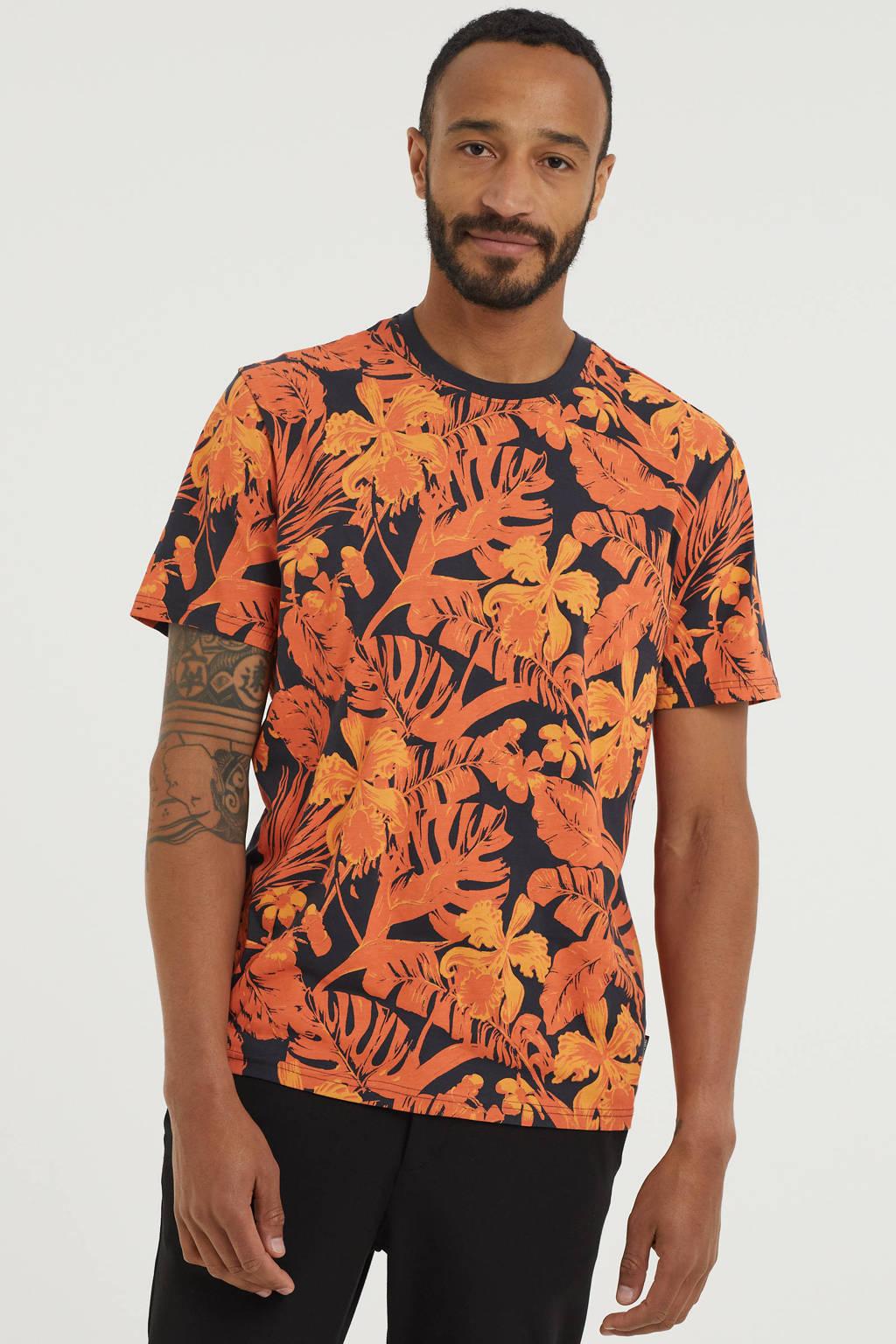 ONLY & SONS T-shirt van biologisch katoen met bladprint oranje/zwart, Oranje/zwart