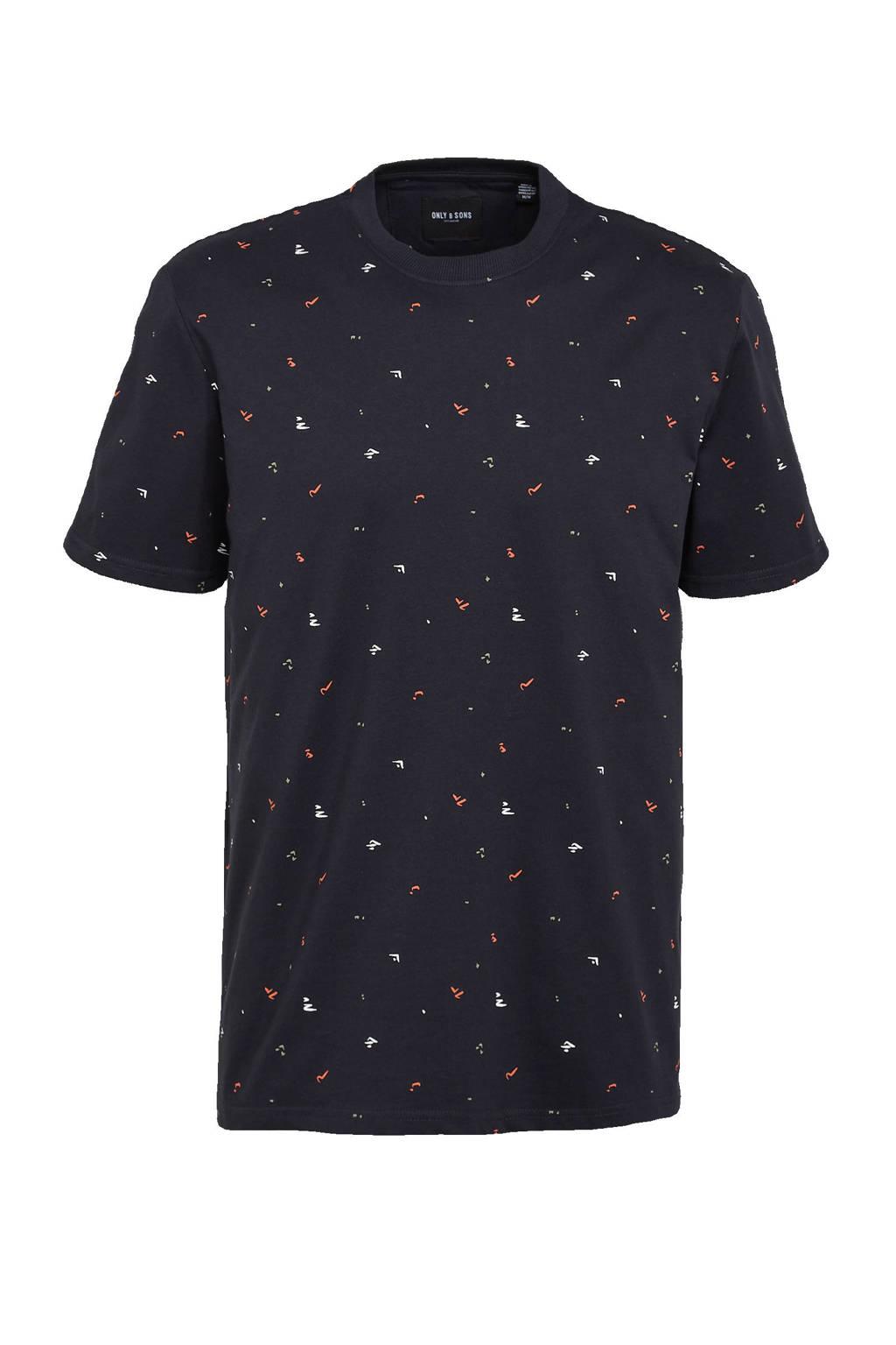 ONLY & SONS T-shirt Paxon van biologisch katoen donkerblauw, Donkerblauw