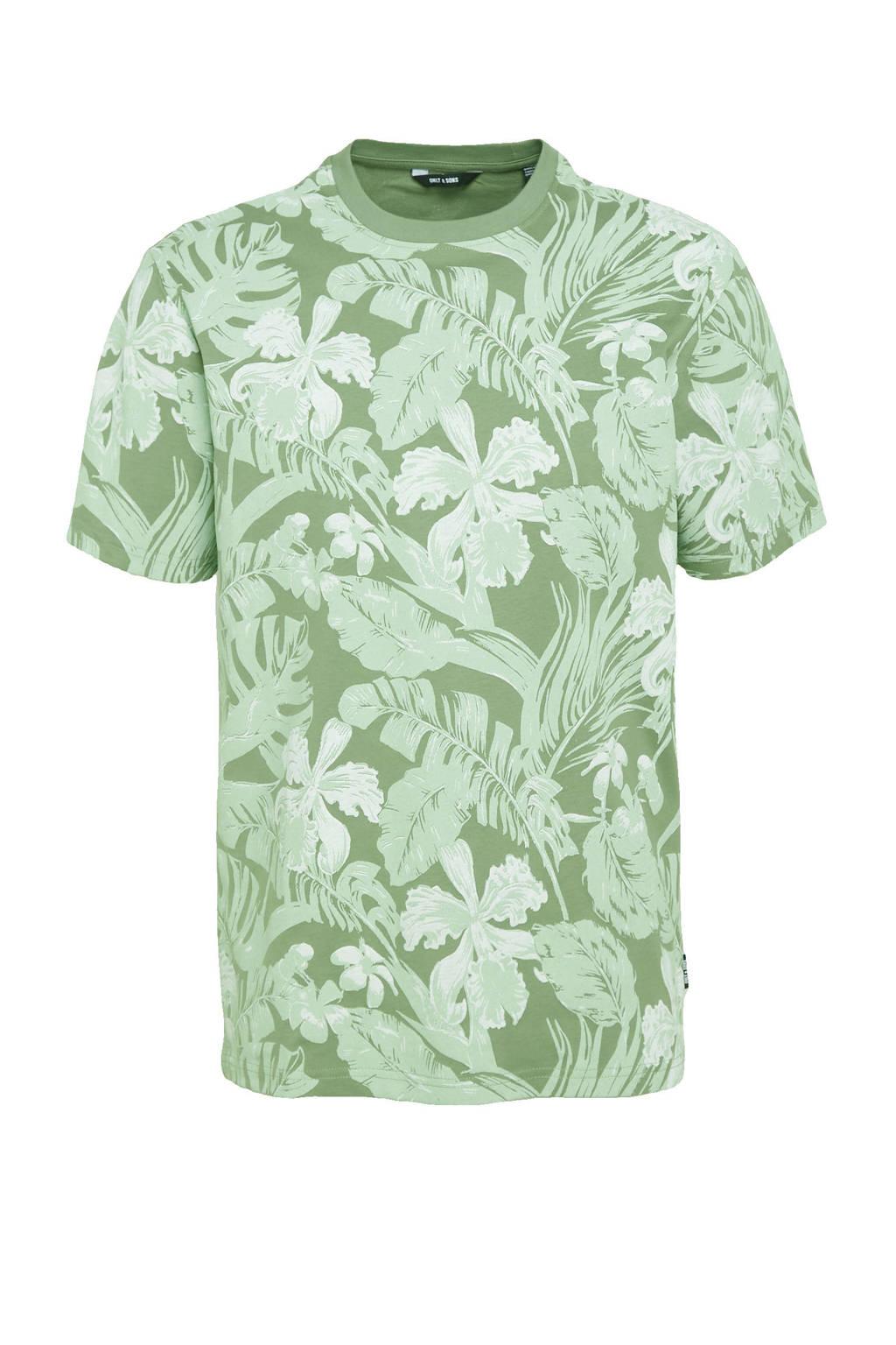 ONLY & SONS T-shirt van biologisch katoen met bladprint groen, Groen