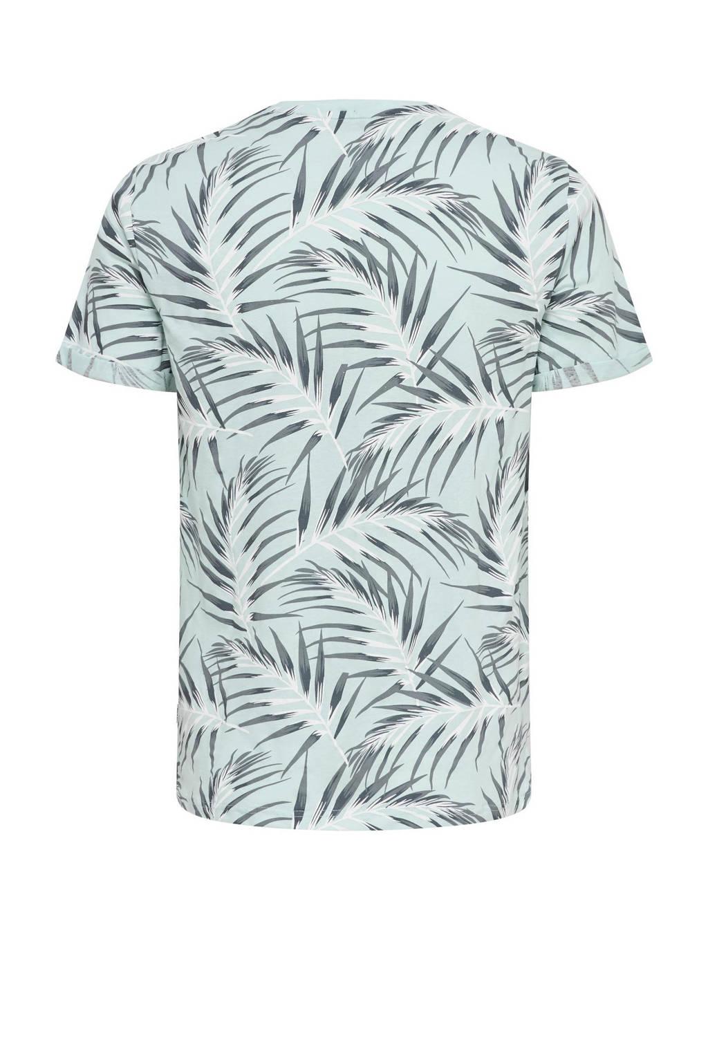ONLY & SONS T-shirt Ason met bladprint lichtblauw, Lichtblauw