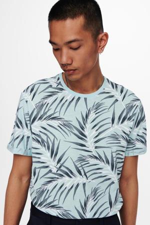T-shirt Ason met bladprint lichtblauw