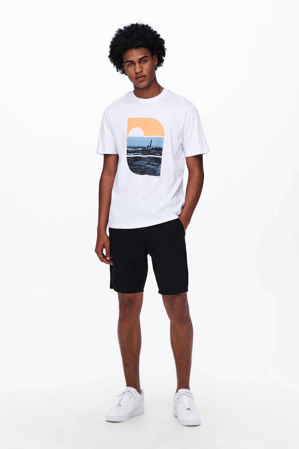 ONLY & SONS T-shirt van biologisch katoen wit, Wit