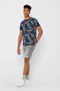 ONLY & SONS T-shirt Ason met bladprint donkerblauw, Donkerblauw