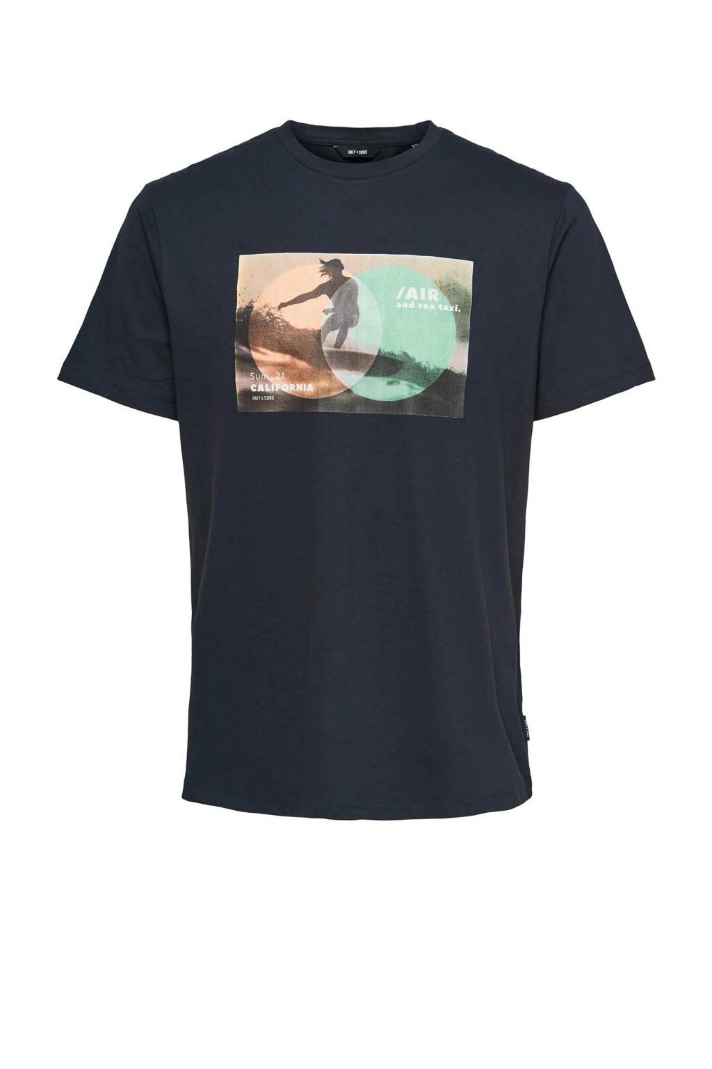 ONLY & SONS T-shirt van biologisch katoen donkerblauw, Donkerblauw