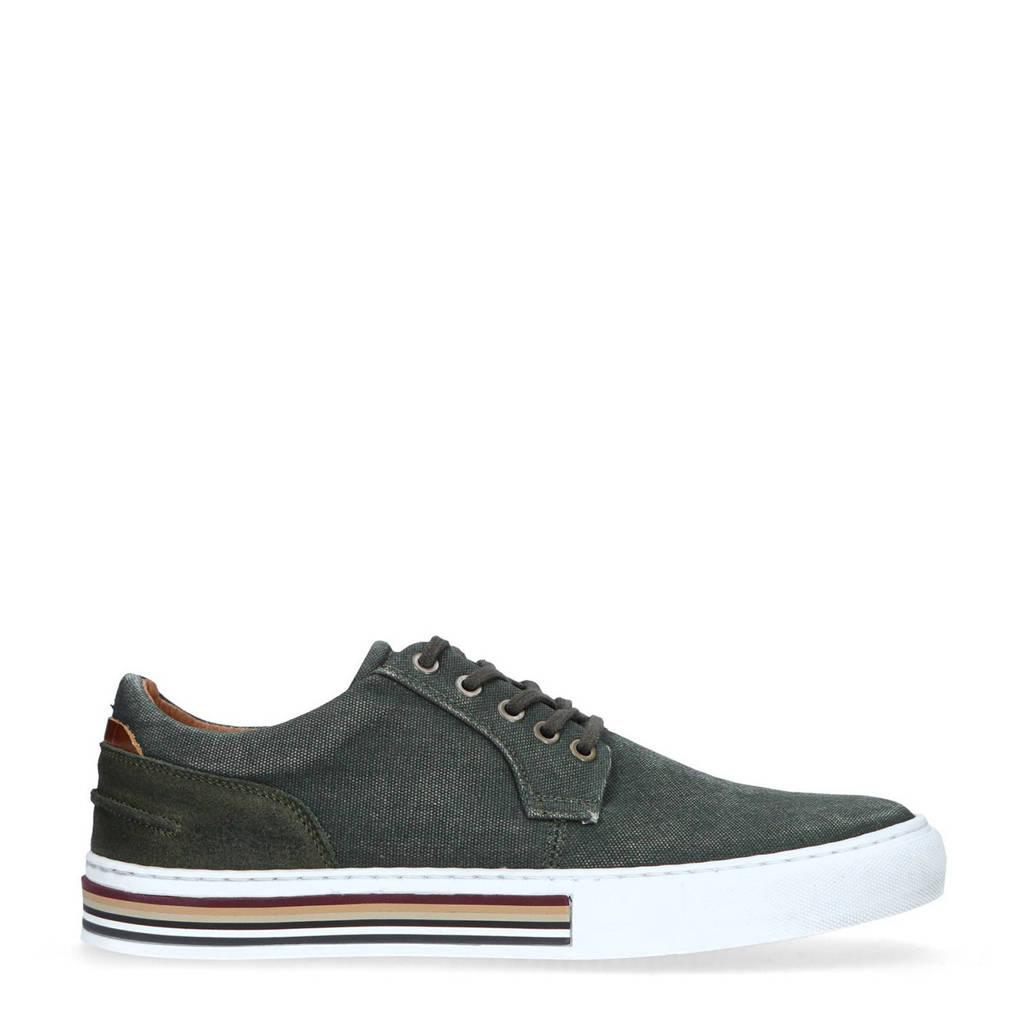 Manfield   leren sneakers donkergroen, Donkergroen