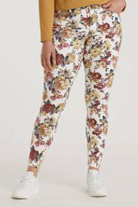 Zizzi gebloemde skinny jeans JCATHIE AMY  wit/donkerrood/donkergeel, Wit/donkerrood/donkergeel