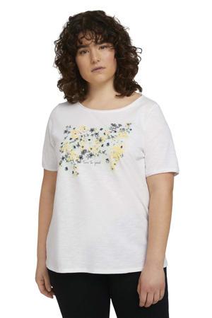 T-shirt met printopdruk wit/geel/blauw