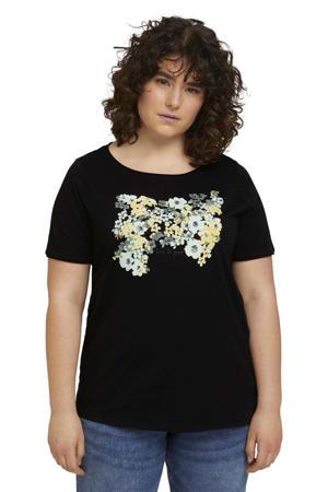 T-shirt met printopdruk zwart/geel/lichtblauw