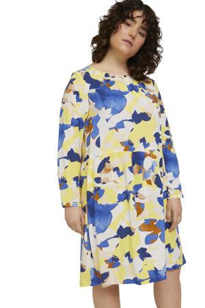 jurk met all over print en open detail geel/blauw/wit