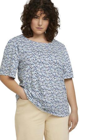 T-shirt met all over print wit/blauw/donkerblauw