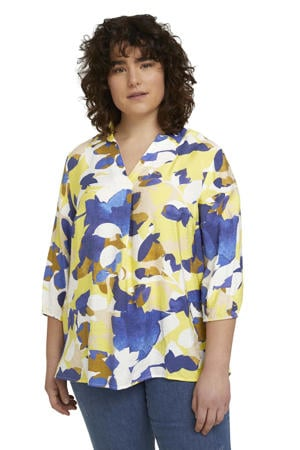 top met all over print blauw/geel/wit