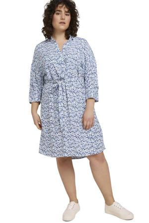 jurk met all over print en ceintuur lichtblauw/blauw