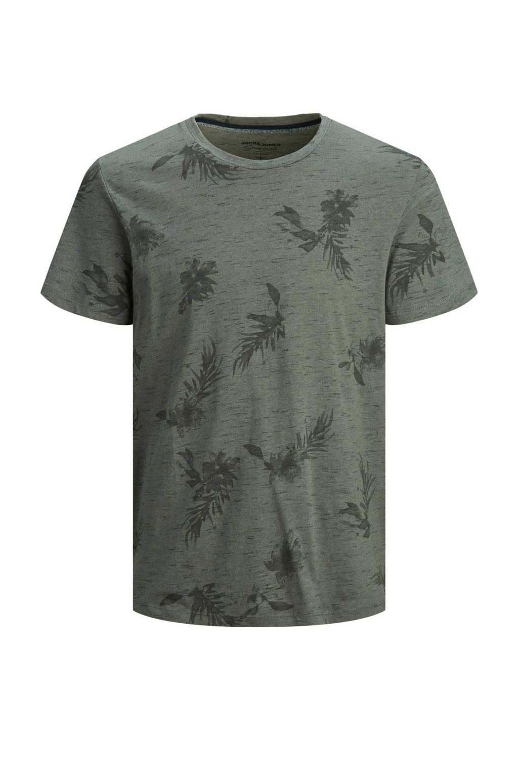 JACK & JONES PLUS SIZE T-shirt Plus Size met all over print grijs, Grijs