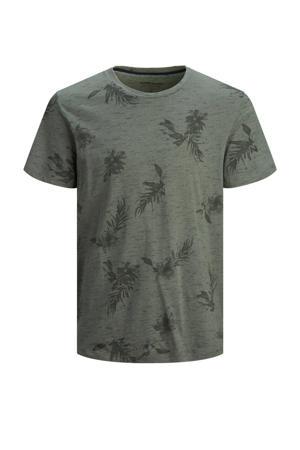 T-shirt Plus Size met all over print grijs