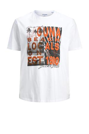 T-shirt Plus Size met printopdruk wit/oranje