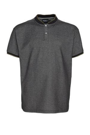 gemêleerde regular fit polo Charming Plus Size met contrastbies zwart