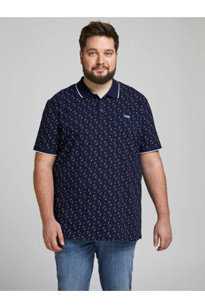 regular fit polo Bowden Plus Size met all over print navy blazer