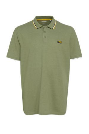 gemêleerde regular fit polo Charming Plus Size met contrastbies oil green
