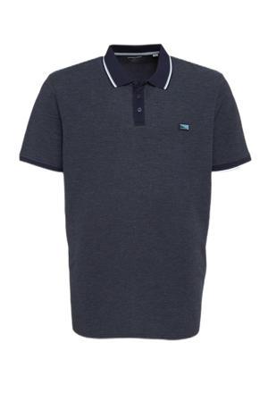 gemêleerde regular fit polo Charming Plus Size met contrastbies navy blazer