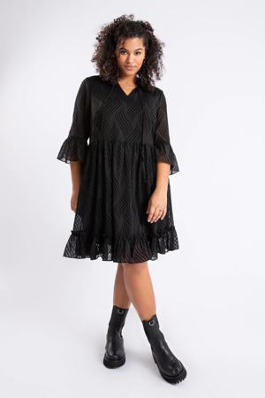 semi-transparante A-lijn jurk met volant zwart