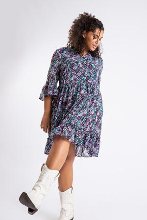 semi-transparante A-lijn jurk met all over print en volant paars/groen/zwart