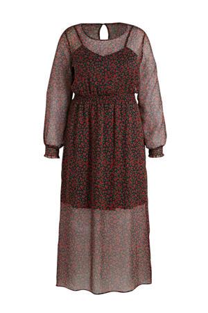 gebloemde semi-transparante jurk zwart/rood/groen