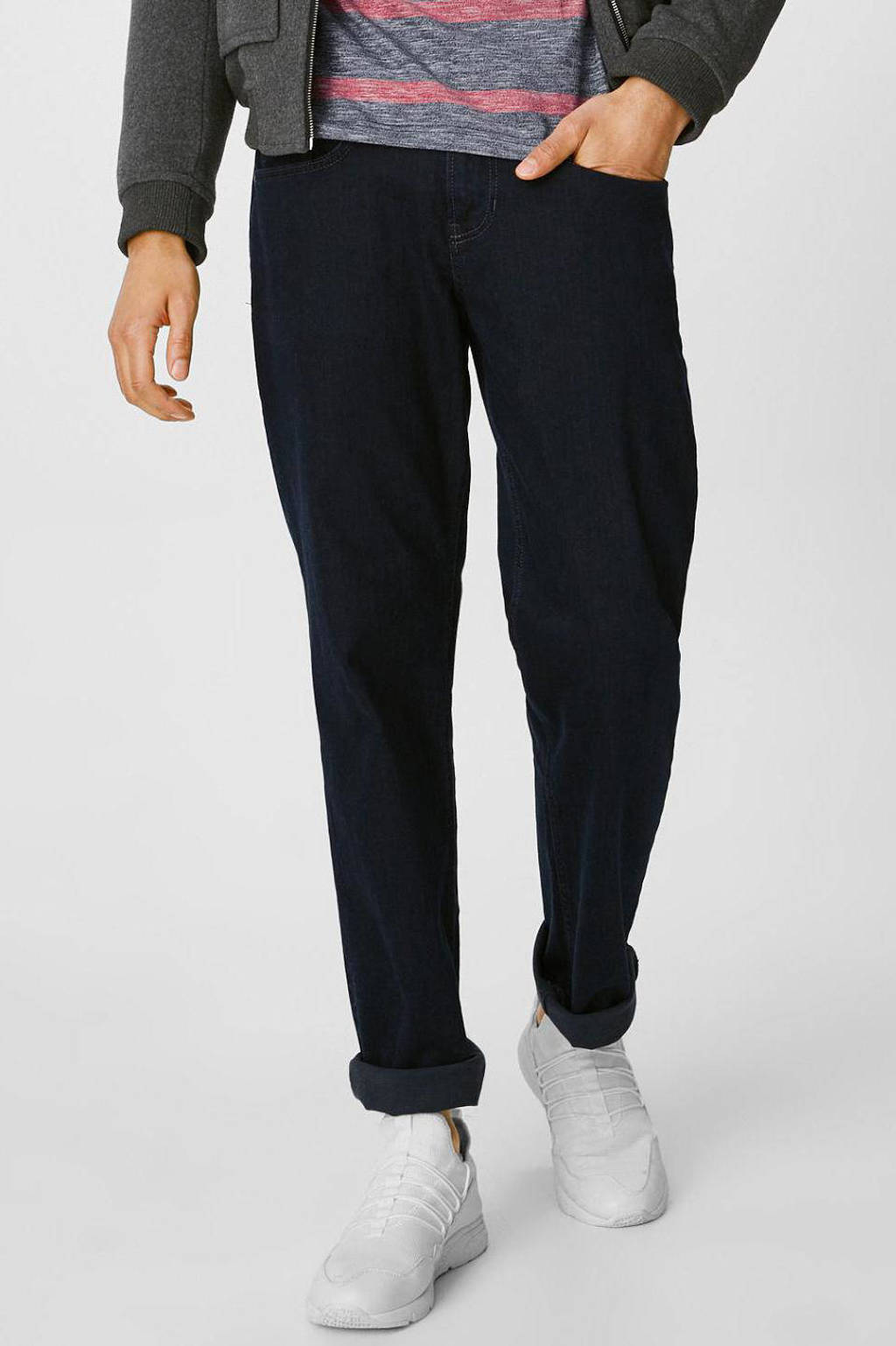 C&A The Denim straight fit jeans donkerblauw, Donkerblauw