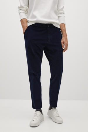 corduroy tapered fit pantalon marine