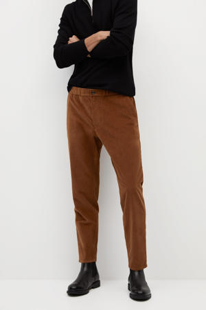 corduroy tapered fit pantalon bruin