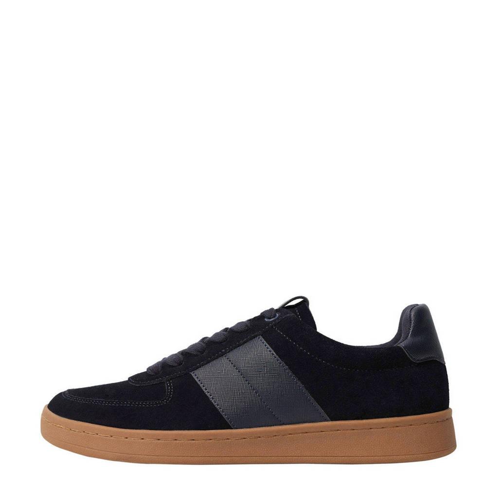 Mango Man   suède sneakers donkerblauw, Donkerblauw