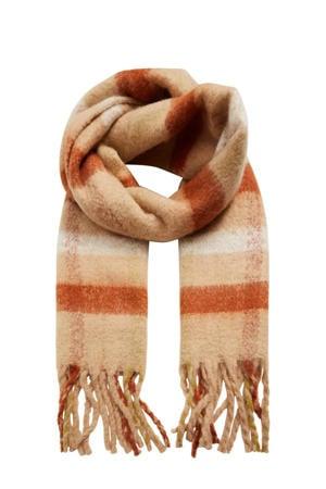geruite sjaal lichtroze