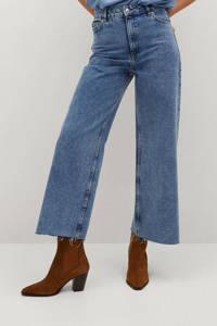 Mango cropped high waist loose fit jeans light blue, Light Blue