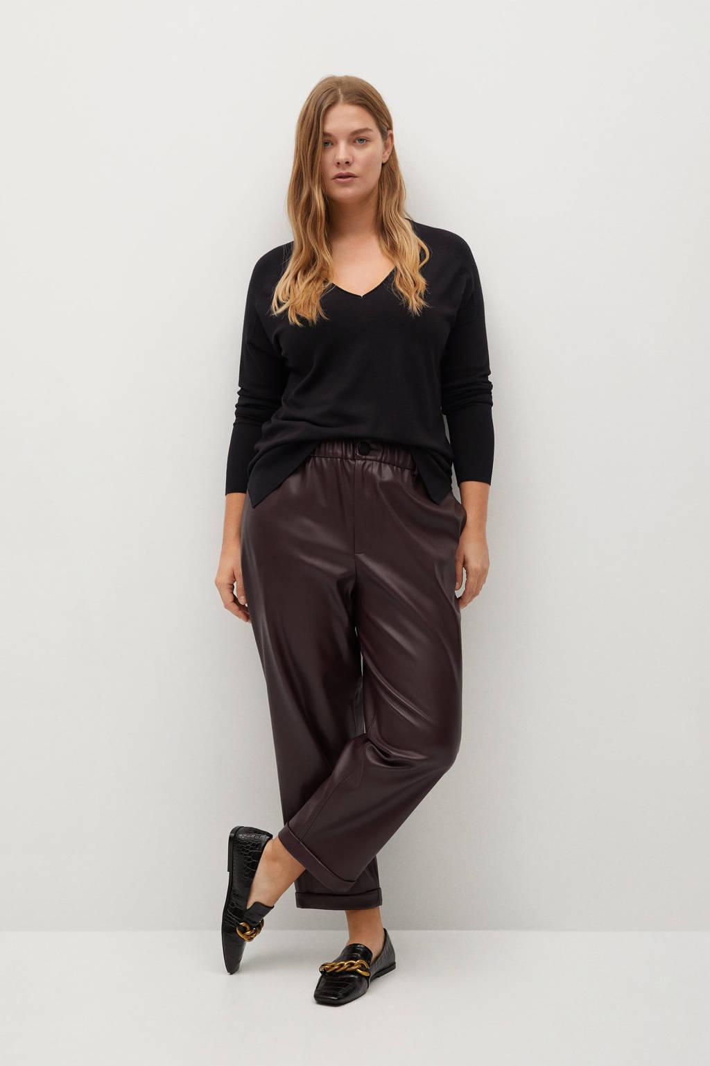 Violeta by Mango trui met V-hals zwart, Zwart