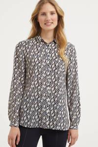 comma blouse met all over print ecru/petrol/antraciet, Ecru/petrol/antraciet