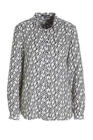 blouse met all over print ecru/petrol/antraciet