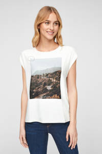 s.Oliver T-shirt met printopdruk wit/multi, Wit/multi