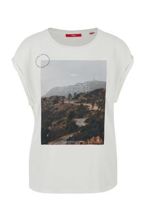 T-shirt met printopdruk wit/multi