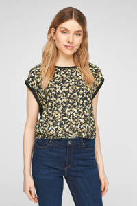 s.Oliver T-shirt met camouflageprint zwart/lichtgeel/donkergroen, Zwart/lichtgeel/donkergroen