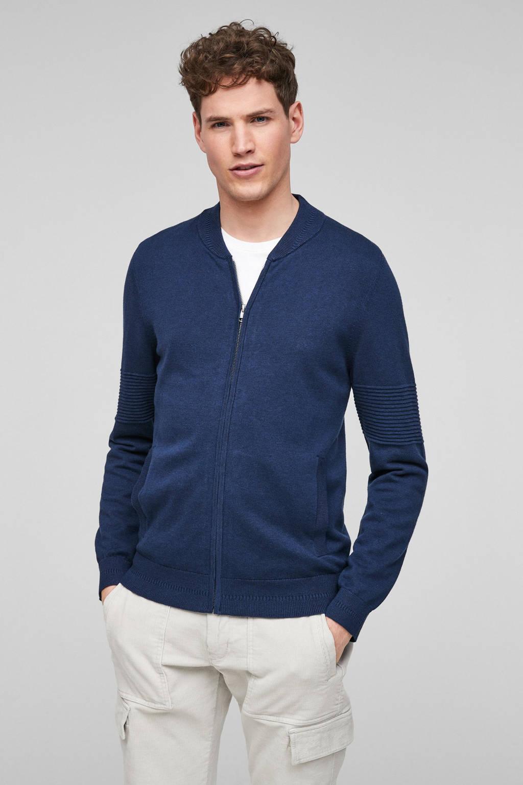 s.Oliver vest met wol blauw, Blauw