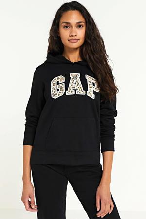 hoodie met logo zwart/leopard
