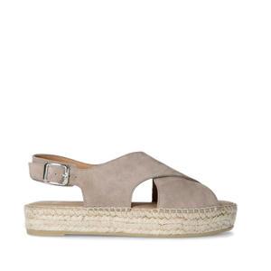 suède sandalen grijs