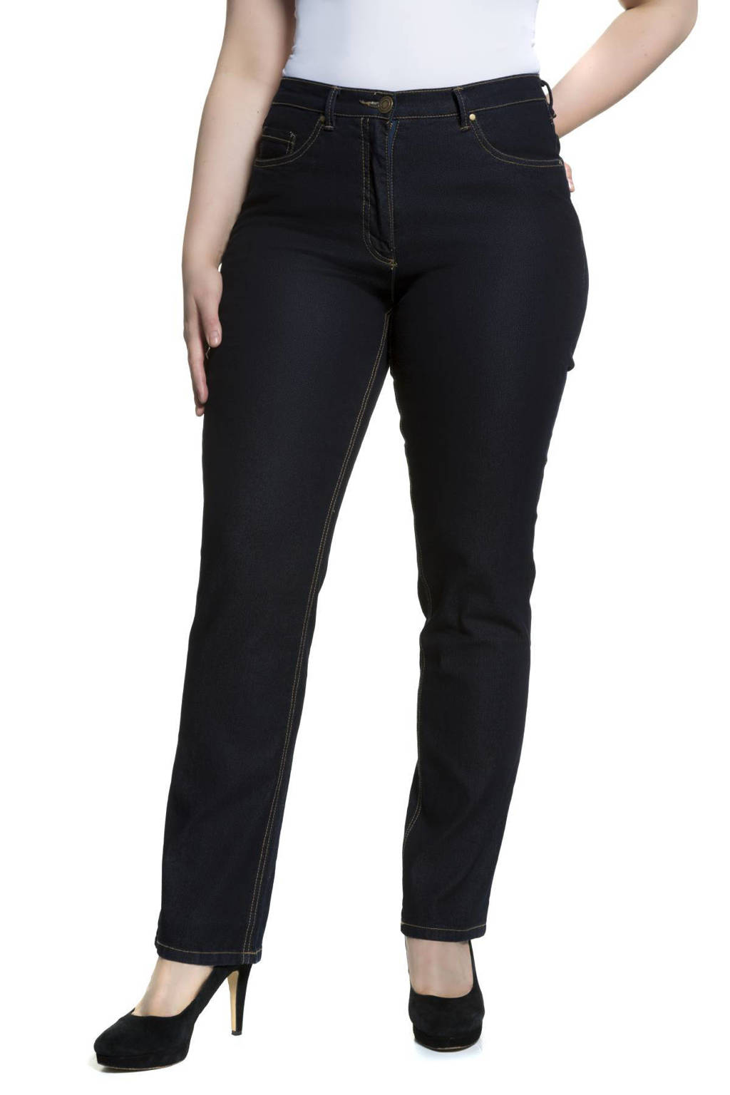 Ulla Popken high waist regular fit jeans Mandy dark denim, Dark denim
