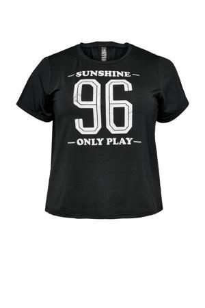Plus Size sport T-shirt Min zwart/wit