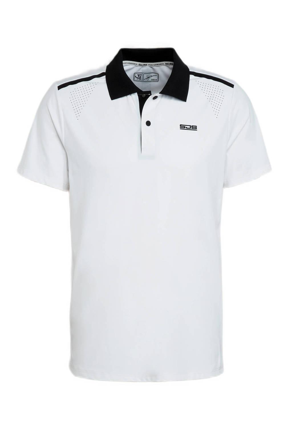Sjeng Sports   sportpolo Ian wit/zwart, Wit/zwart