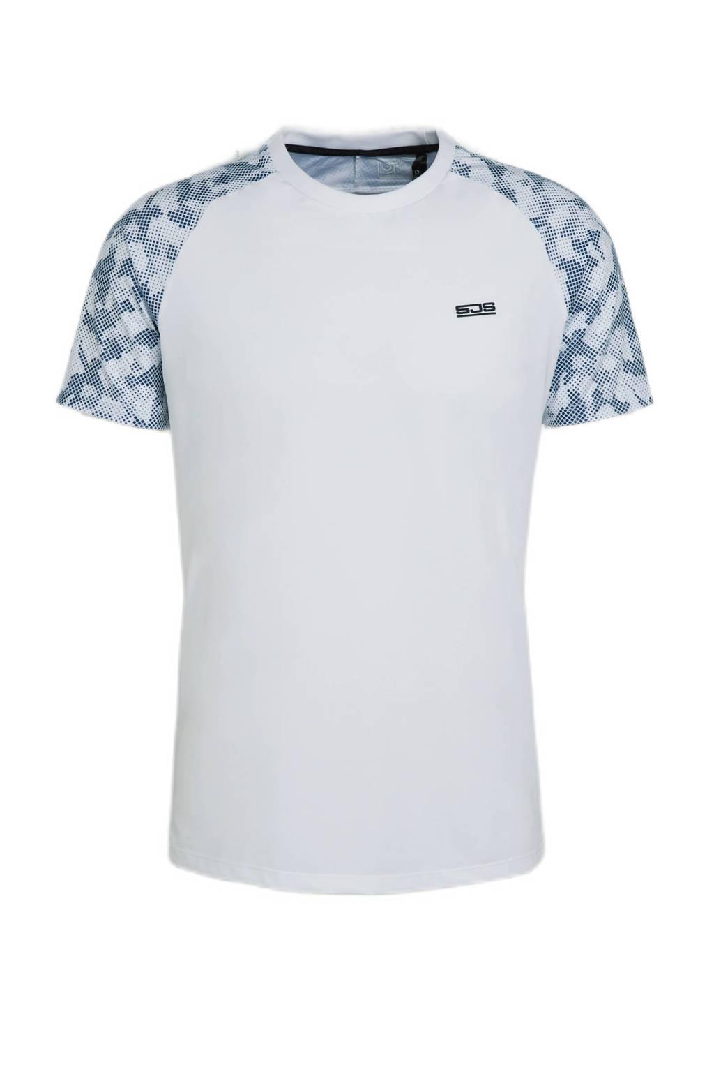 Sjeng Sports   sport T-shirt Hughie wit/blauw, Wit/blauw